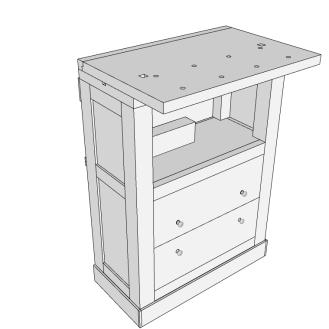 Mesa con tapa abierta